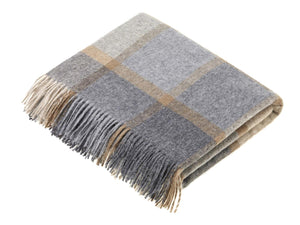 Block Windowpane Lambswool Throw - Beige/Grey