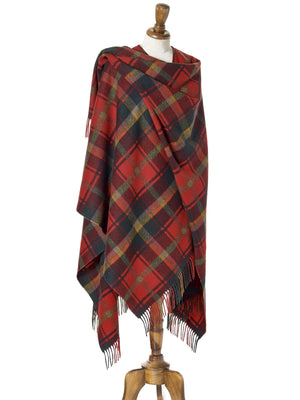 Tartan Lambswool Shawl - Dark Maple