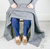 Herringbone Pure New Wool Throw - Charcoal/Silver