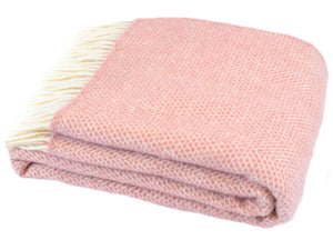 Honeycomb Pure New Wool Throw - Dusky Pink