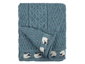 Knitted 100% British Wool Throw - Summer Storm Blue