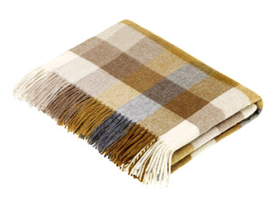 Harlequin Check Lambswool Throw - Gold