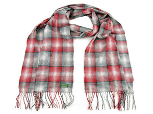 Check Cashmere Stole - Red/Grey