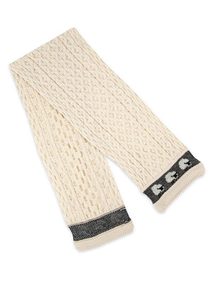 Knitted 100% British Wool Scarf - Cream Sheep