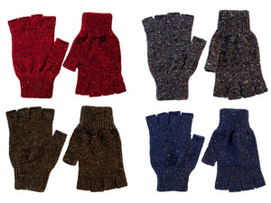 Men's Fleck Donegal Wool Fingerless Gloves