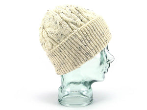 Knitted 100% British Wool Beanie Hat - Cream Nep