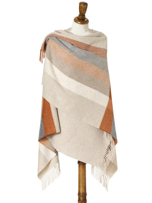 Stripe Lambswool Mini Shawl - Saffron