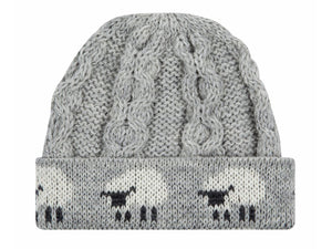 Knitted 100% British Wool Beanie Hat - Grey