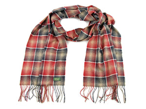Check Cashmere Stole - Red/Beige