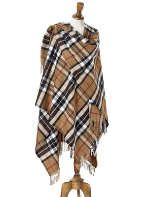 Tartan Lambswool Shawl - Camel Thompson