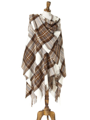Tartan Lambswool Shawl - Natural Dress Stewart