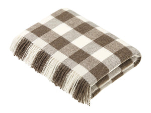 Checkerboard Merino Lambswool Throw - Natural