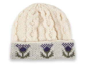 Knitted 100% British Wool Beanie Hat - Thistle