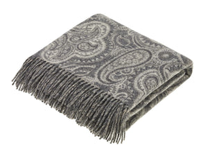 Paisley Merino Lambswool Throw - Slate Grey