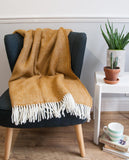 Herringbone Pure New Wool Throw - Mustard