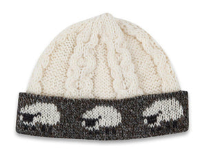 Knitted 100% British Wool Beanie Hat - Cream