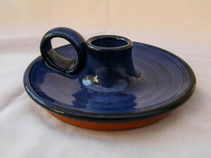 Earthenware Blue Glaze Candle Holder