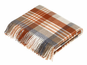 Melbourne Check Lambswool Throw - Saffron