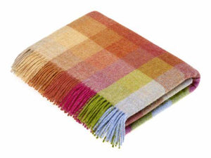 Harlequin Check Pure New Wool Throw - Sunshine