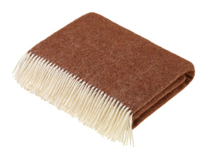 Herringbone Shetland Pure New Wool Throw - Brick