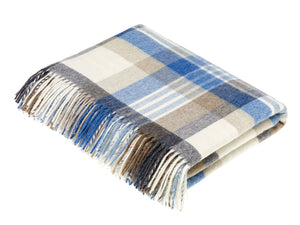 Melbourne Check Lambswool Throw - Aqua & Camel