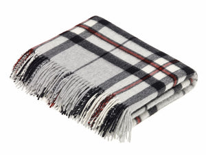 Tartan Merino Lambswool Blanket - Grey Thompson