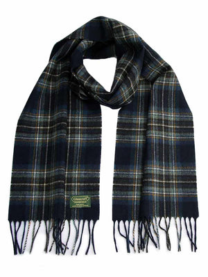 Plaid Lambswool Scarf - Navy