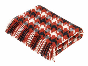 Houndstooth Merino Lambswool Throw - Coral