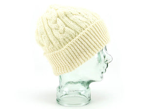 Aran Knitted British Wool Bob Hat - Cream