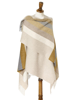 Stripe Lambswool Mini Shawl -  Gold/Grey