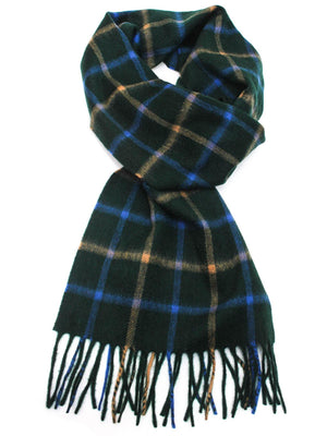 Check Cashmere Scarf - Forest Green