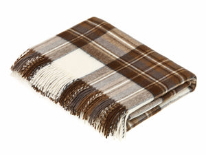 Tartan Merino Lambswool Blanket - Natural Dress Stewart