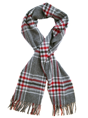 Kirkstall Check Lambswool Stole - Silver/Red