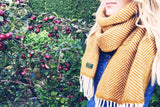 Herringbone Pure New Wool Scarf - Mustard