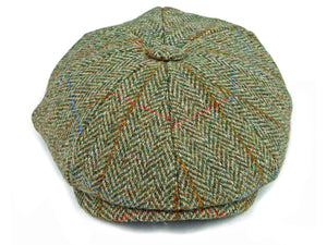 Herringbone Harris Tweed 'Peaky Blinders' Newsboy Cap - Green