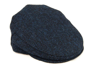 Herringbone Harris Tweed Flat Cap - Navy