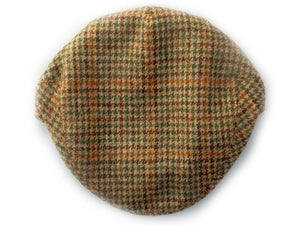 Garforth Tweed Flat Cap - Houndstooth Beige/Green