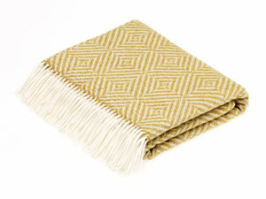 Vienna Herringbone Lambswool Throw - Gold