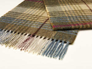 Swale Check Lambswool Scarf - Beige/Green