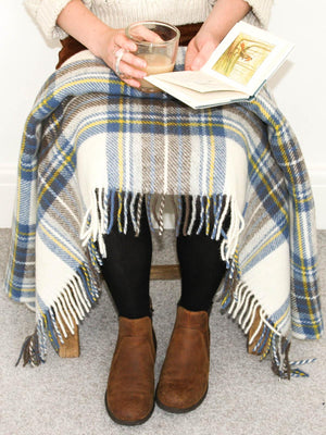 Tartan Pure New Wool Blanket - Muted Blue Stewart