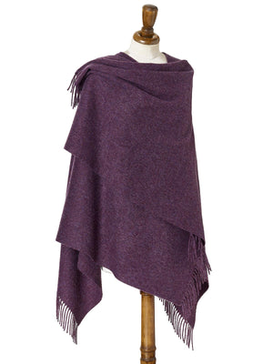 Plain Lambswool Mini Shawl - Purple Heather