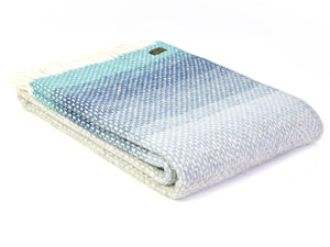 Ombre Pure New Wool Throw - Seaside Blue