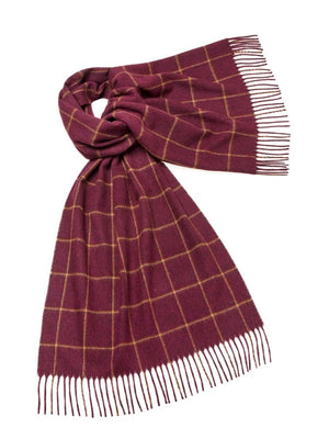Check Lambswool Stole - Dark Pink