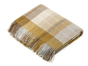 Florence Check Lambswool Throw - Gold