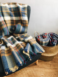 Large Checked Random Recycled Wool Blanket