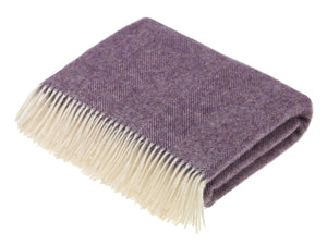 Herringbone Shetland Pure New Wool Throw - Lavender