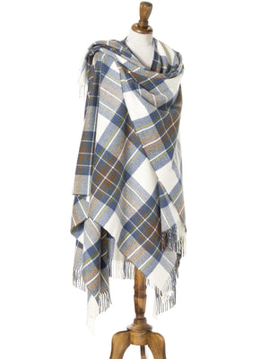 Tartan Lambswool Shawl - Muted Blue Stewart