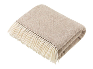 Natural Collection - Pure New Wool Throw - Beige Herringbone