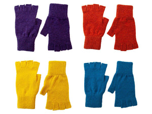 Ladies Plain Lambswool Fingerless Gloves