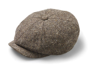 Fleck Tweed Baker Boy Hat - Brown